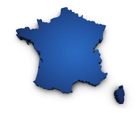 francia: 3d Forma de Francia mapa coloreado en azul y aislado en el fondo blanco