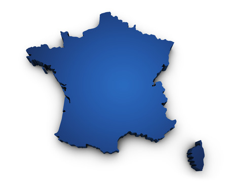outline map: Shape 3d of France map colored in blue and isolated on white background
