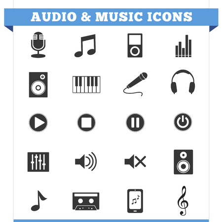 set of music and audio related icons and design elements for web pages and music business services  Illustration on white background  Vector