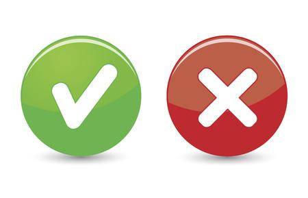 白い背景の上の緑と赤のボタン上の承認および却下された web アイコン