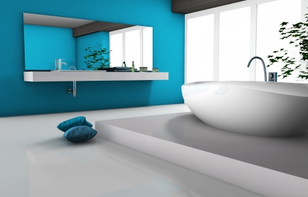 bathroom mirror: House interior of a modern bathroom with bathtub and contemporary design 3d rendering