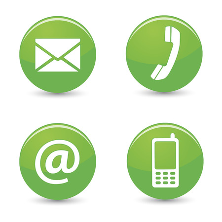 email us: Website and Internet contact us page concept with green glossy buttons and icons isolated on white background
