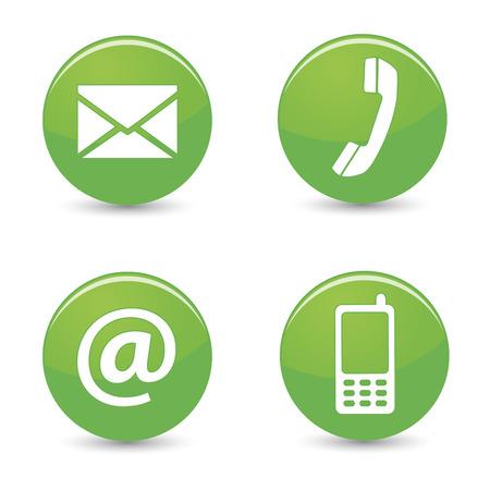 Website en internet contact met ons op pagina concept met groene glanzende knoppen en pictogrammen op een witte achtergrond