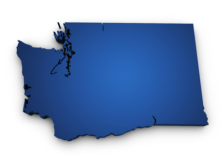 Shape 3d of Washington map colored in blue and isolated on white background