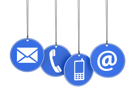 Website and Internet contact us page concept with icons on four blue hanged tags on white background  Stok Fotoğraf