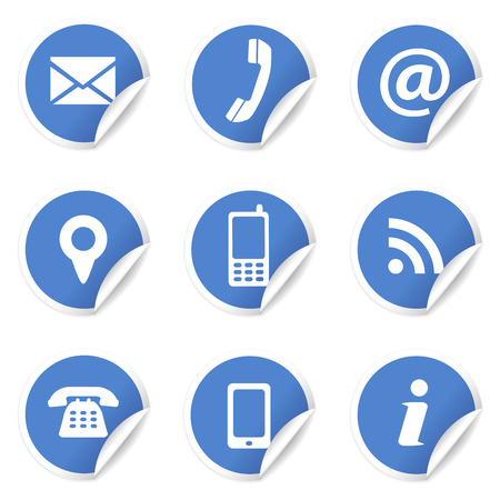 Web and Internet contact us icons set and design symbols on blue circular labels with curl  EPS10 vector illustration isolated on white background