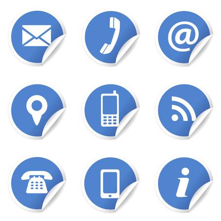 Web e Internet contattarci set di icone e simboli di design sulle etichette circolari blu con arricciatura EPS10 illustrazione vettoriale isolato su sfondo bianco Vettoriali