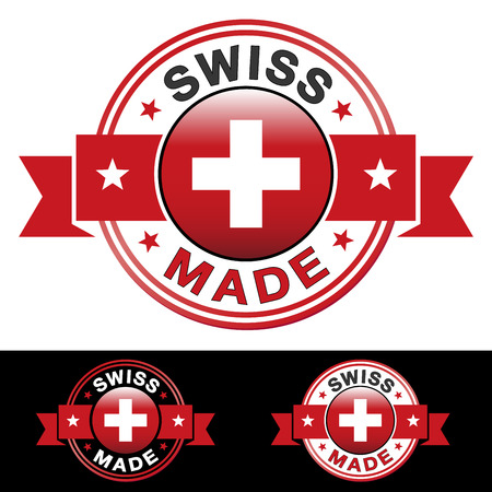 swiss: Swiss made label and icon with ribbon and central glossy flag symbol  Vector EPS10 illustration with three different badge colors isolated on white and black background
