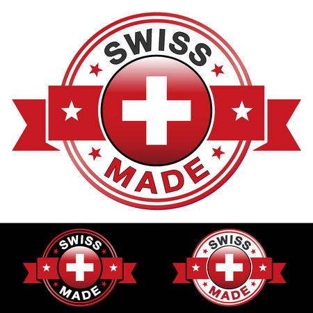 gemaakt: Swiss made label en het pictogram met lint en centrale glanzend vlag symbool Vector EPS10 illustratie met drie verschillende badge kleuren geïsoleerd op witte en zwarte achtergrond