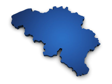 Shape 3d of Belgium map colored in blue and isolated on white background  Stock Photo