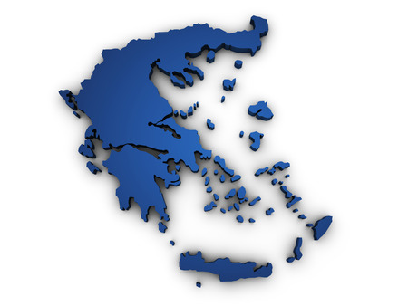 Shape 3d of Greece map colored in blue and isolated on white background  photo