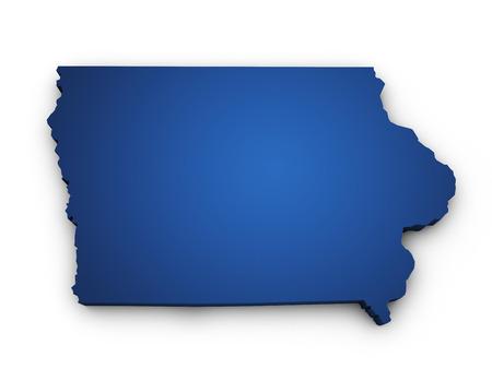 アイオワ州地図青色に、白い背景で隔離の 3 d を形状します。