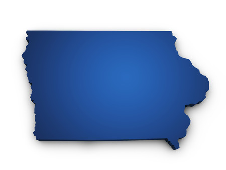 iowa: Shape 3d of Iowa map colored in blue and isolated on white background  Stock Photo
