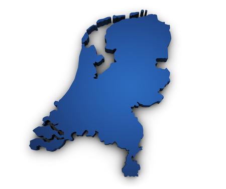 Vorm 3d van Nederland kaart gekleurd in blauw en geïsoleerd op witte achtergrond Stockfoto - 23302748