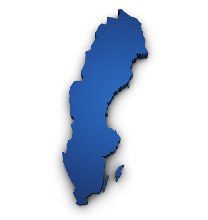 map sweden: Shape 3d of Sweden map colored in blue and isolated on white background