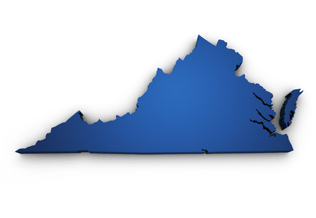 Shape 3d of Virginia map colored in blue and isolated on white background