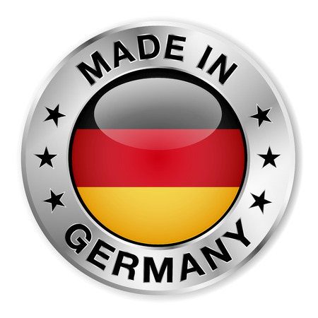 Made in Germany silver badge and icon with central glossy German flag symbol and stars