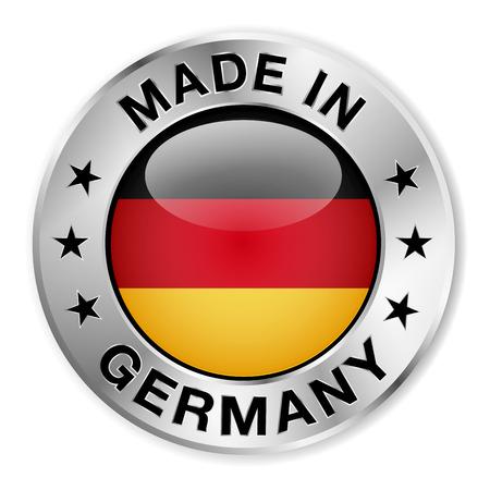 Made in Germany srebrnej odznaki i ikony z centralnym błyszczącym symbolem flagi niemieckiej i gwiazdy