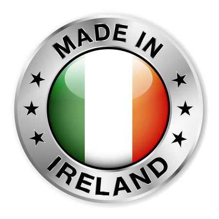 irish banners: Made in Ireland silver badge and icon with central glossy Irish flag symbol and stars