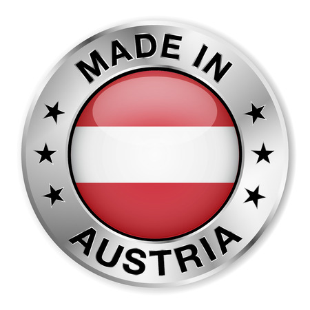 Made in Austria silver badge and icon with central glossy Austrian flag symbol and stars   Vector