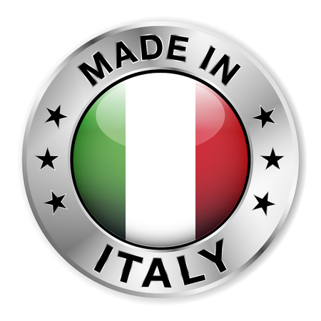 Made in Italy silver badge and icon with central glossy Italian flag symbol and stars  Vector