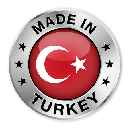 turkish flag: Made in Turkey silver badge and icon with central glossy Turkish flag symbol and stars