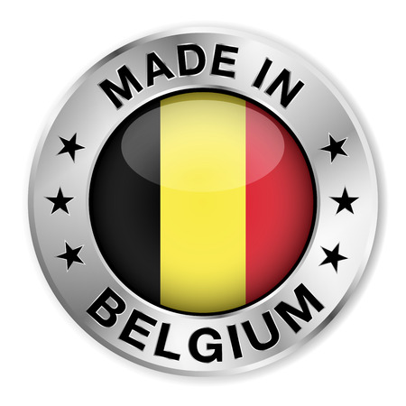 Made in Belgium silver badge and icon with central glossy Belgian flag symbol and stars  Vector