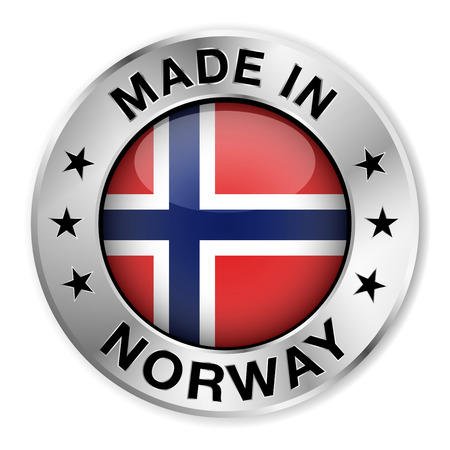 Made in Norway silver badge and icon with central glossy Norwegian flag symbol and stars   Vector