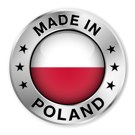polish flag: Made in Poland silver badge and icon with central glossy Polish flag symbol and stars