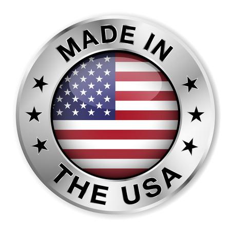 bandera: Hecho en La insignia de plata EE.UU. y el icono con el centro brillante de Estados Unidos símbolo de la bandera y las estrellas Vectores
