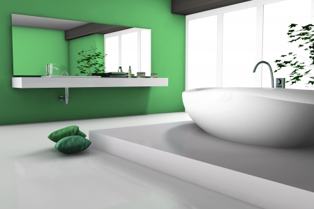 House inter of a modern green bathroom with bathtub and contemporary design 3d rendering  Stock Photo - 23655940