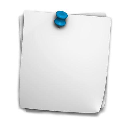 Lege notitie papier post-it voor kantoor en zakelijke notities met blauwe punaise en schaduw op een witte achtergrond Stockfoto