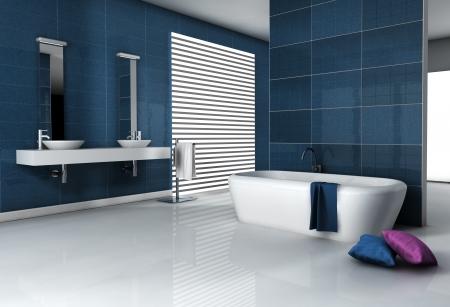 Accueil intérieur d'une salle de bains moderne carrelée avec baignoire et design contemporain rendu 3d Banque d'images - 23655942