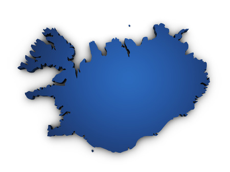 iceland: Shape 3d of Iceland map colored in blue and isolated on white background
