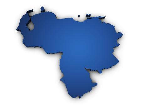 mapa de venezuela: 3d Forma de Venezuela mapa coloreado en azul y aislado en el fondo blanco