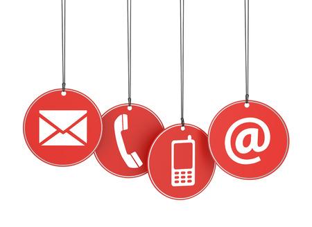 ウェブサイトおよびインターネットお問い合わせ白い背景の上の 4 つの赤い絞首刑タグ上のアイコンをページの概念 写真素材