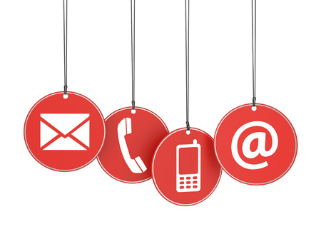 web marketing: Website and Internet contact us page concept with icons on four red hanged tags on white background  Stock Photo