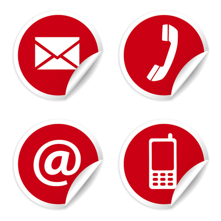 Web en internet contact met ons pictogrammen instellen en design symbolen op rode ronde stickers met krul