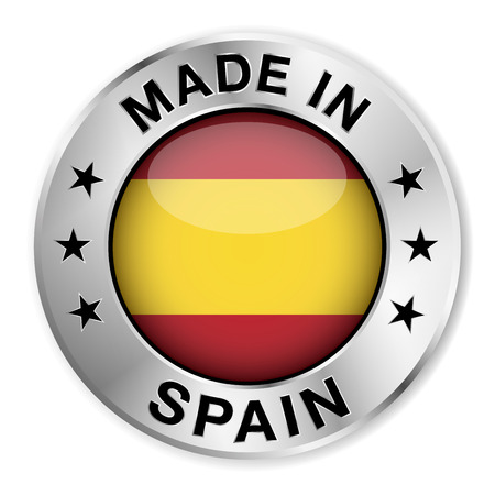 Made in Spain silver badge and icon with central glossy Spanish flag symbol and stars  Vector EPS10 illustration isolated on white background  Vector