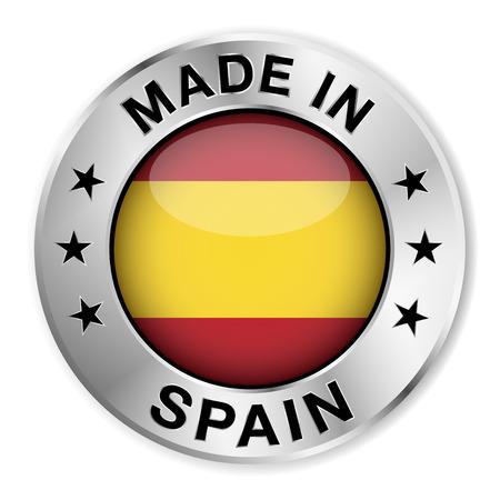 gemaakt: Made in Spain zilver badge en het pictogram met centrale glanzend Spaanse vlag symbool en sterren Vector EPS10 illustratie geïsoleerd op witte achtergrond