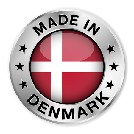 Made in Denmark silver badge and icon with central glossy Danish flag symbol and stars  Vector EPS10 illustration isolated on white background  Vector