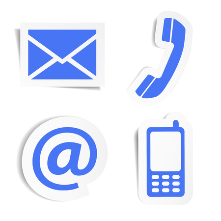 Website en internet contact met ons pictogrammen set en design symbolen op de blauwe stickers met schaduw EPS10 vector illustratie geïsoleerd op een witte achtergrond