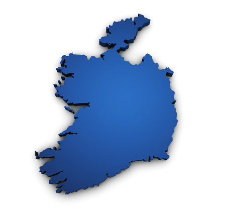 ireland map: Shape 3d of Ireland map colored in blue and isolated on white background  Stock Photo