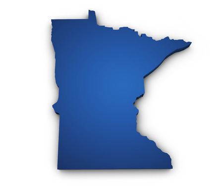 Shape 3d of Minnesota map colored in blue and isolated on white background  photo