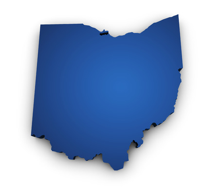 Shape 3d of Ohio map colored in blue and isolated on white background