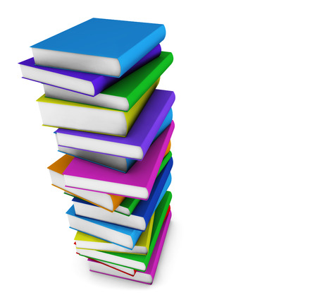 School, college and education concept with a stack of colorful books on white background with copy space  photo