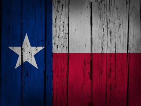 vintage flag: Texas state grunge background with texan flag painted on wooden aged wall