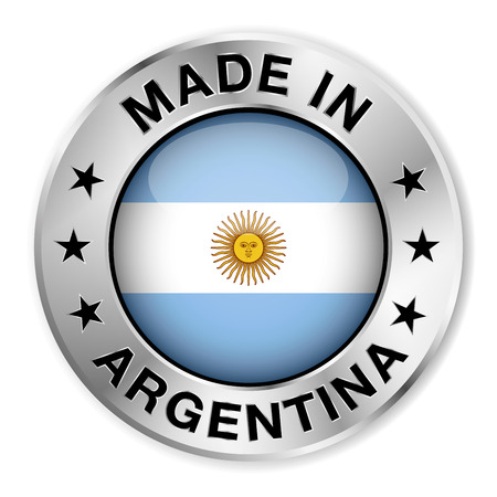 Made in Argentina silver badge and icon with central glossy Argentinian flag symbol and stars   Vector