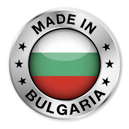 bulgaria flag: Made in Bulgaria silver badge and icon with central glossy Bulgarian flag symbol and stars   Illustration