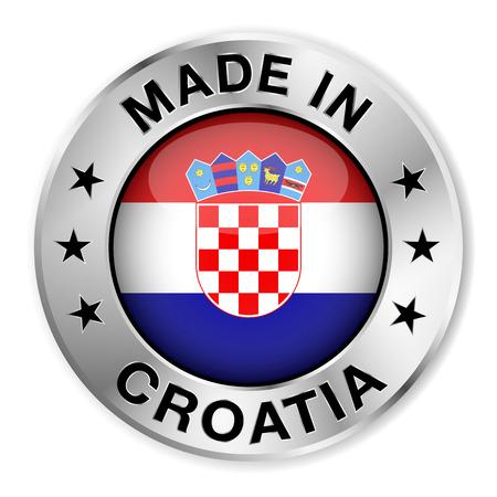 bandera de croacia: Hecho en insignia de plata Croacia y el icono con brillante símbolo de la bandera de Croacia central y estrellas Vectores